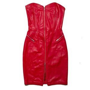 Vintage Leather Strapless Bodycon Dress